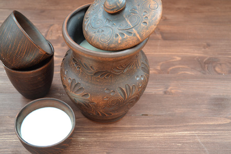 Healthy eating concept. Organic  milk in pottery