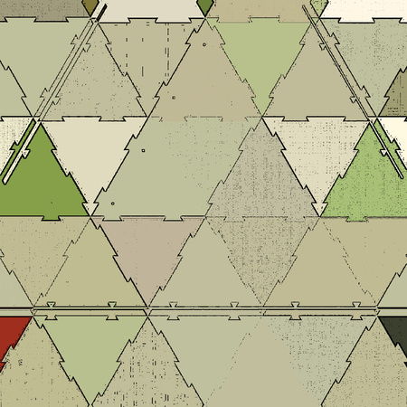 Triangles mosaic in vintage style. Textile design texture.