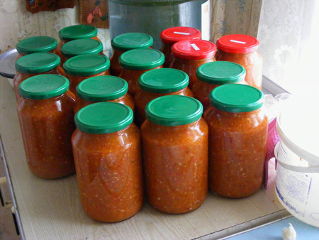 Canning, concept of healthy diet vegetarian food. Fermented food.