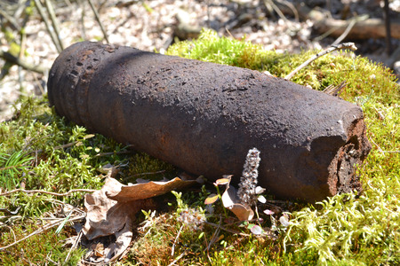 Close up of rusty whizzbang high explosive of the Second World War in forest of Belarus