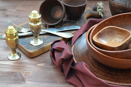 Rustic pottery and home interior decor. Antique crockery