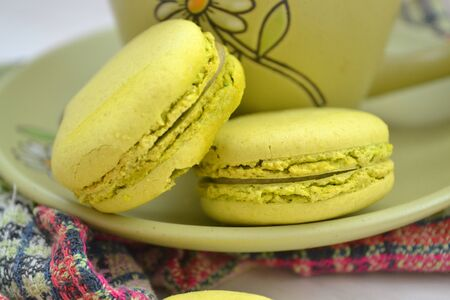 Homemade macaron cookies of green color for dessert Stok Fotoğraf