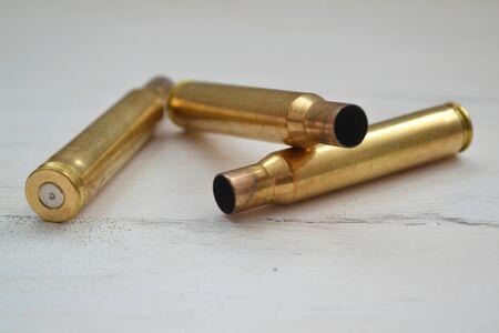macro photo of capsular part of the combat cartridge, large bullet