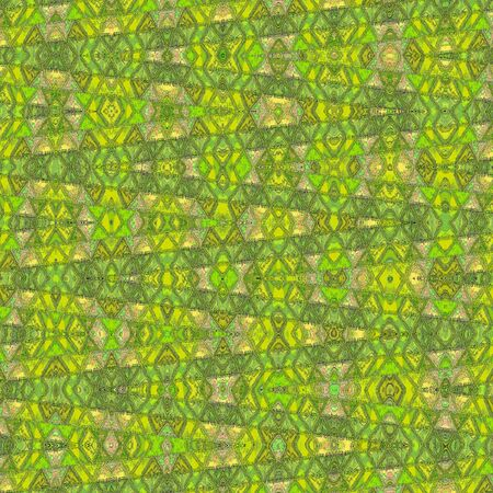 Abstract green pattern with irregular chevrons and water bubbles.