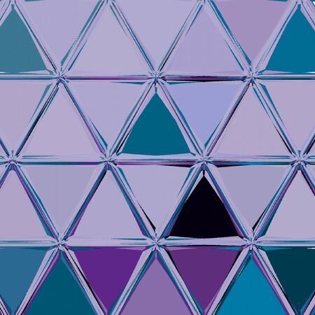 Graphic abstract background with triangles mosaic. Continuous pattern in violet color Banque d'images - 128235239