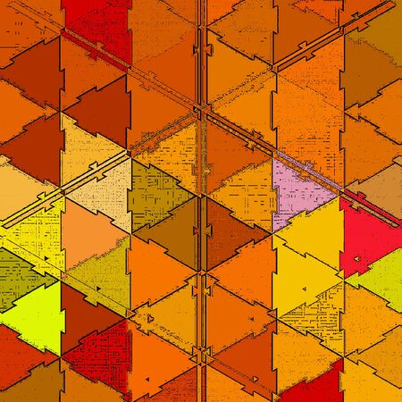 Origami orange polygonal pattern for cover design in autumn style. Modern color abstract background with patchwork effect