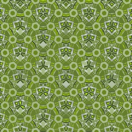 Textile ornament in green color. Geometric print. Vintage texture.