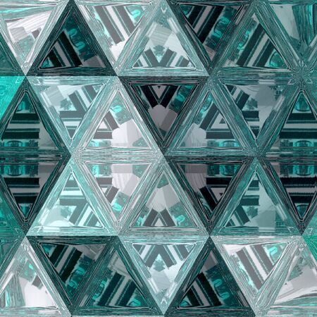 Abstract triangles transparent mosaic modern geometric background in teal and turquoise Reklamní fotografie