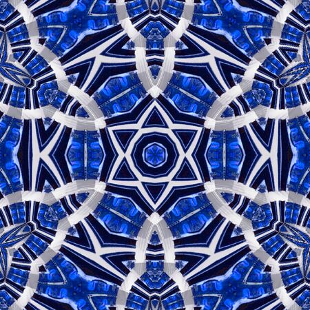 Snowflake mandala in blue and white. Boho style. Classic ornament.