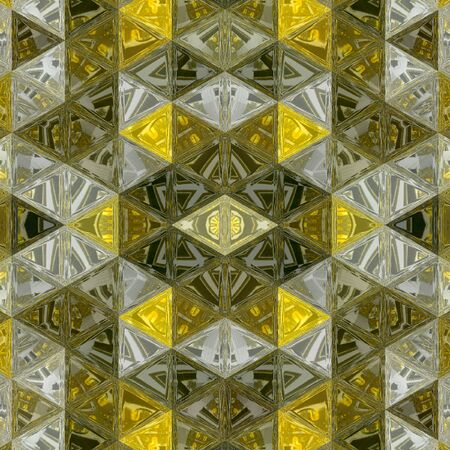 Dark ocher and yellow background pattern texture, triangle lines with stained glass effect. Modern 3d graphic concept.