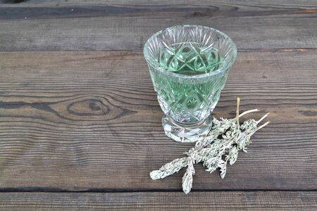Young green twigs bitter wormwood, homeopathy decoction Stock Photo