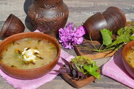 Traditional russian cuisine: cabbage soup with potatoes and sausage