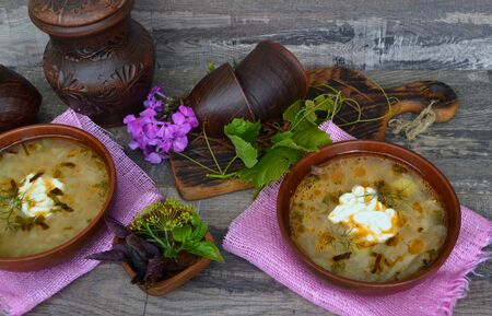 Cabbage soup, traditional russian cuisine, top view 版權商用圖片