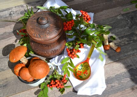 Red cap boletus with red rowan on wooden background. Brown wild mushrooms. Edible fungus Leccinum Aurantiacum collected in forest. Russian cuisine, ceramic jug and white napkin with colorful spoon in khokhloma style