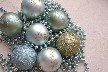 Christmas tree and New Year toy. Blue and silver balls Archivio Fotografico - 129800970