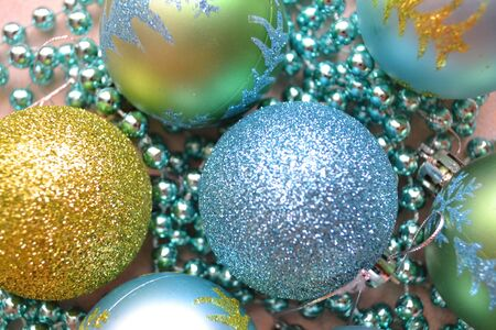 Banner Christmas composition shiny balls in blue, silver and golden colors Archivio Fotografico - 129800974