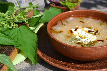 Spring vegetable soup with nettle in rustic bowl Stock fotó