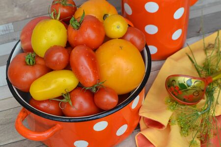 Fresh tomatoes. Healthy vegetarian nutrition. Bright backdrop, food background with russian cuisine concept