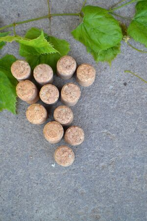 Wine bottle corks and leaves of grape on stone background, vertical image