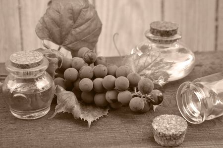 Natural essential oil of grape with fresh leaves and berrys. Monochrome photo in retro style Stok Fotoğraf