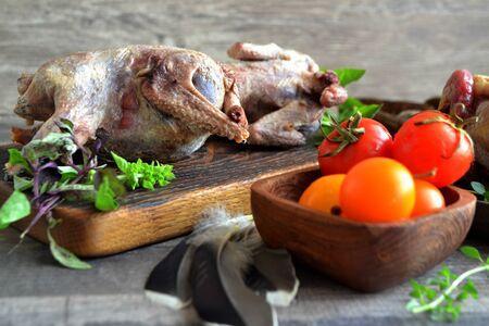 Russian cuisine with woodcock. Wild hunting fowls in cooking.