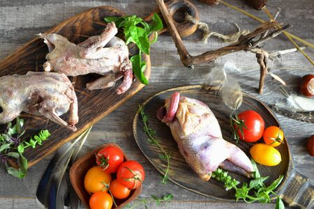 Hunting trophies: raw partridge and woodcock, rustic cuisine