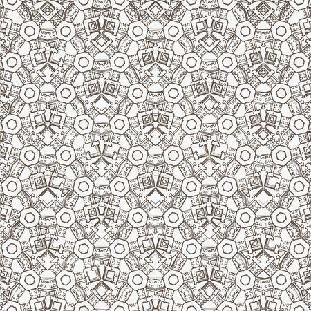 Christmas geometric hexagon grid monochrome continuous pattern