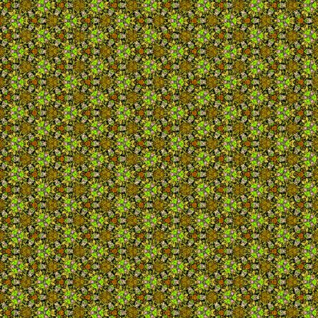 pattern in green and olive in thick lines. Continuous mosaic