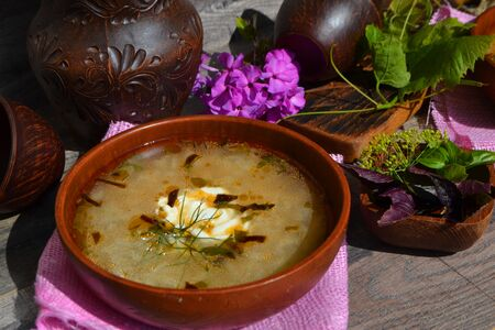 Rustic ceramic bowl of healthy cabbage soup, traditional russian cuisine