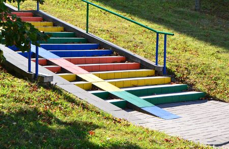 Stairs. Abstract steps. Stairs in the city at autumn, colorful and conceptual Reklamní fotografie