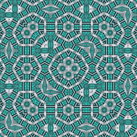 Turkish tile ornament with stained glass effect. Moroccan pattern in blue and turquoise colors, aquamarines Reklamní fotografie - 131590552