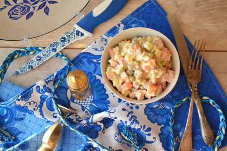 Salade Olivier, russian cuisine, traditional Russian New Year`s salad Stockfoto