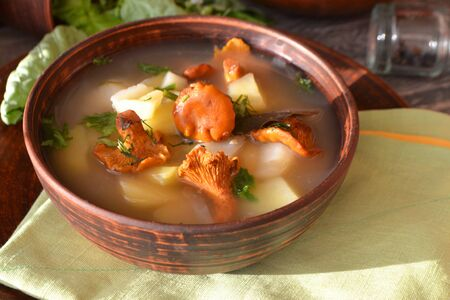 Russian rustic cuisine: cream of potato soup with fresh chanterelles Stock fotó