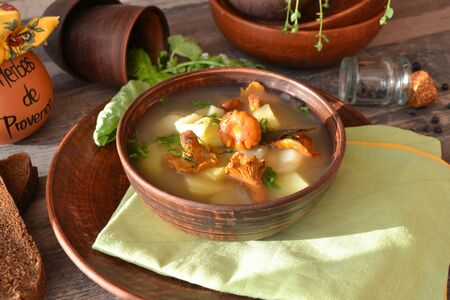 Autumn forest chanterelles mushrooms in rustic soup. Healthy organic eating.