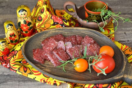 Spicy dry cured salami sausage , traditional russian cuisine Stockfoto