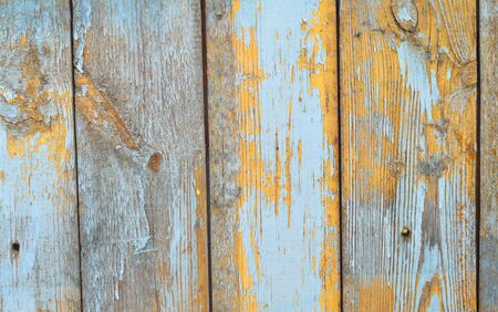 Rustic planks wall with aged shabby texture in teal and blue color Stockfoto