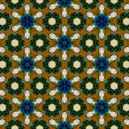 Kaleidoscope continuous jewerelly pattern. Composed of colors abstract elements. Stock Photo