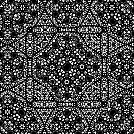 Monochrome ornamental background. East, old ornament with simmetrical lines. Template for print carpet or shawl. Stockfoto