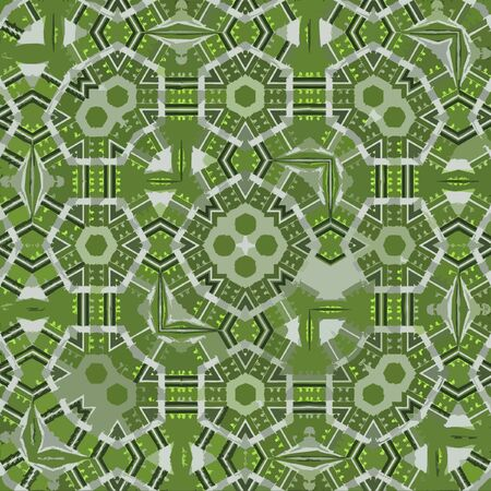 Boho pattern in green color. Vintage patchwork fabric with leaf and hexagonal elements