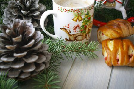 New Year, Christmas background, cappuccino and cookies, pine cone and green branch