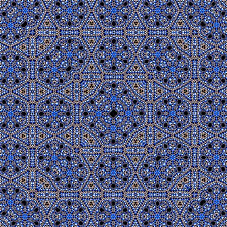 Tile pattern illustration in blue portuguese tiles, squares elements