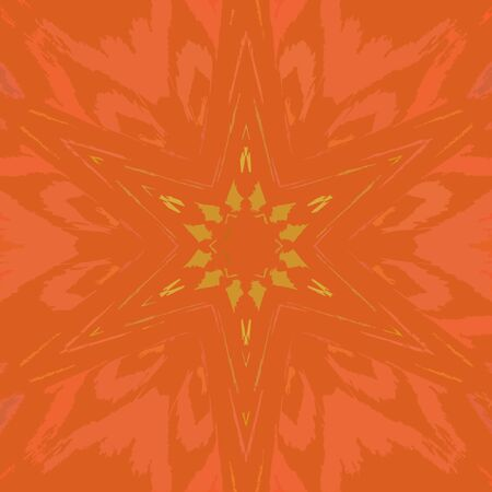 Orange star low poly origami style design of mandala. Polygonal design