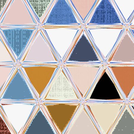 Continuous tribal pattern. Geometric ornament in triangles. Blue, brown and white colors patchwork illustration. 版權商用圖片