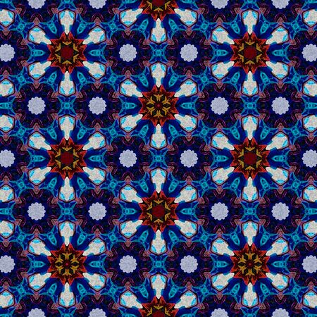 abstract continuous mosaic pattern. Blue, white, brown bright background. Ceramic tile diamond elements