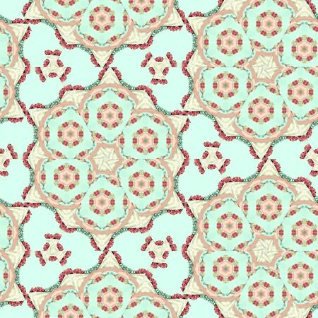 Pastel kaleidoscope background. Continuous pattern composed of colorful abstract elements mosaic