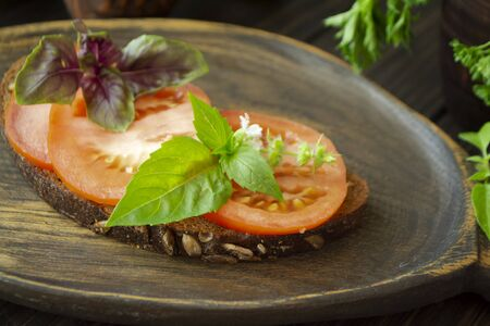 Bruschetta with tomatoes and basil on a dark wooden background. Close up Archivio Fotografico