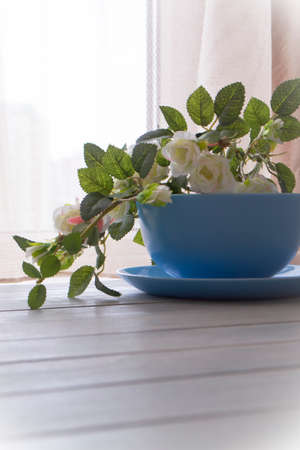 White roses in blue bowl on blurred background Archivio Fotografico