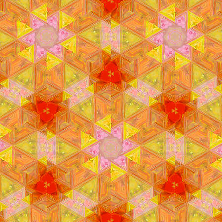 Continuous pattern in autumn colors. Bright orange optical illusion background.