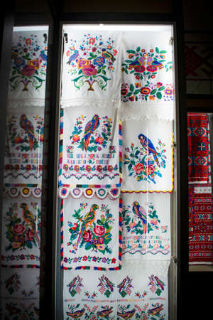Old traditional embroidery in Belarus. Ethnic texture design. Rustic towels, tablecloths. Archivio Fotografico