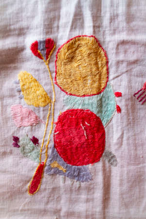 apple hand made embroidered smooth decoration on white fabric, vintage folk embroidery in Belarus, second half of 19 century